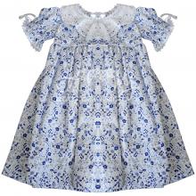 Vestido renda renascença infantil flora azul - 2 anos