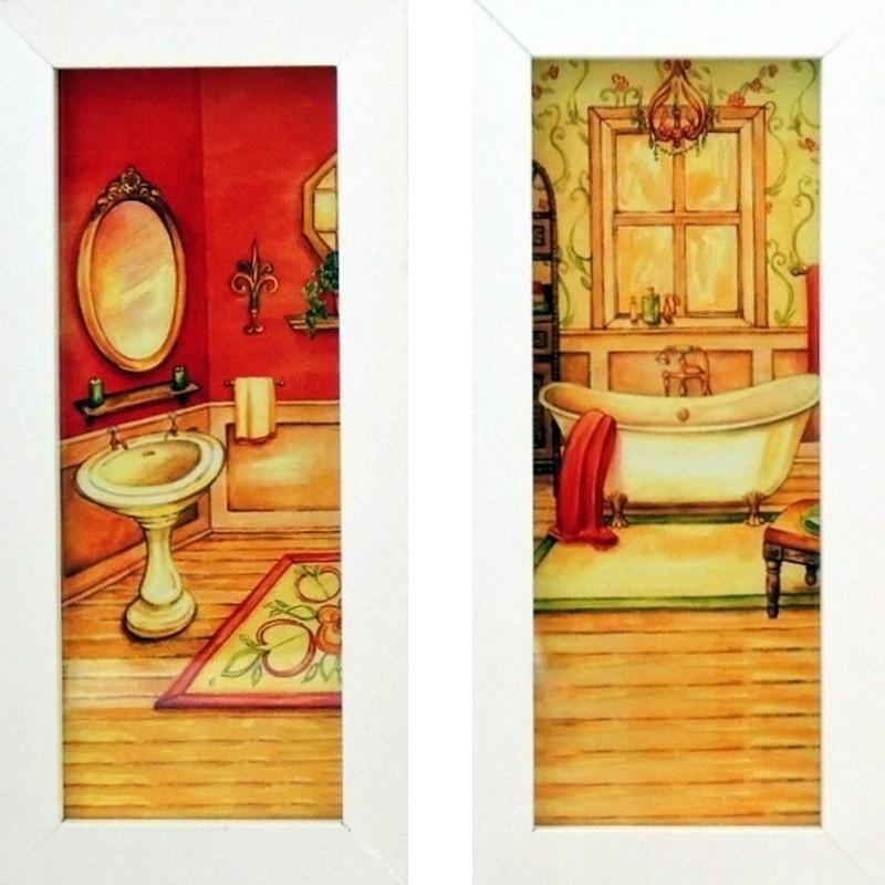 Banheiro Colorido Antigo - Quadros para Banheiro