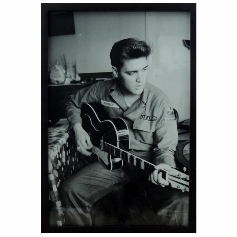 Elvis e o Violão- Quadro Retrô com Vidro