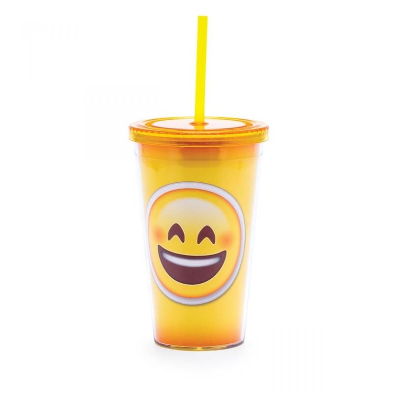Emoji Sorriso - Copo com Canudo