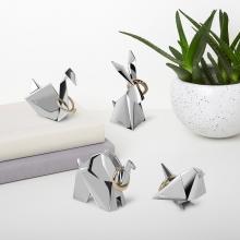 Elefante Origami - Porta Anel Cromado