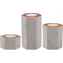 Porta Velas - Kit c/ 3 peças (P, M, G) Cimento e Cobre