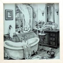 Banheiro Retrô P&B - Quadro