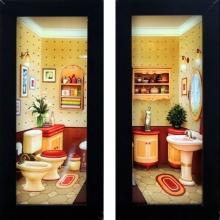 Banheiro Colorido Retrô - Quadros para Banheiro
