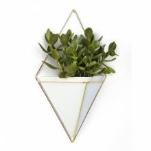 Trigg - Vaso de Parede Grande Branco/Dourado