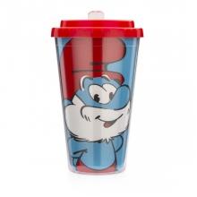 Papai Smurf - Copo com canudo retrátil Smurfs