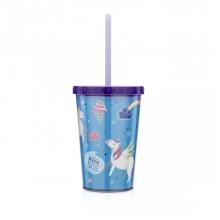 Unicórnio - Mini copo com canudo e brilho
