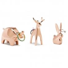 Coelho & Elefante & Rena - Kit c/ 3 peças Porta Anéis Cobre