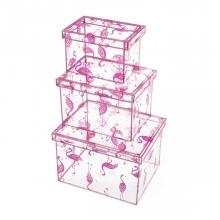 Flamingos - Kit 3 Caixas Organizadoras