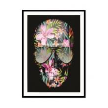 Caveira Floral - Poster com Moldura
