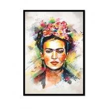 Frida Aquarela - Poster com Moldura