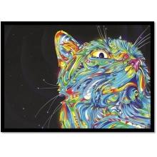Gato Psicodélico - Poster com Moldura