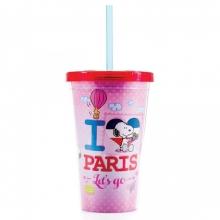 Snoopy Paris - Copo Com Canudo