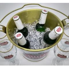 Kit Namorados Balde para Gelo e 4 taças p/ cerveja Stella Artois