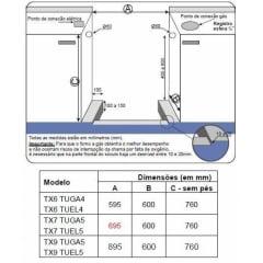 FOGÃO TECNO INOX 5QM GAS FORNO TURBO GAS CHURRASQUEIRA 70CM 220V TX7 TUGA5
