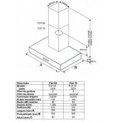 Coifa de Parede 60cm Inox 220v Bertazzoni