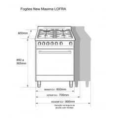 FOGÃO GAS 5 QUEIMADORES 102 LITROS FORNO ELETRICO INOX 220V MAXIMA LOFRA
