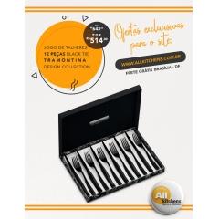 Faqueiro Aço Inox 12 Peças Black Tie Tramontina Design Collection