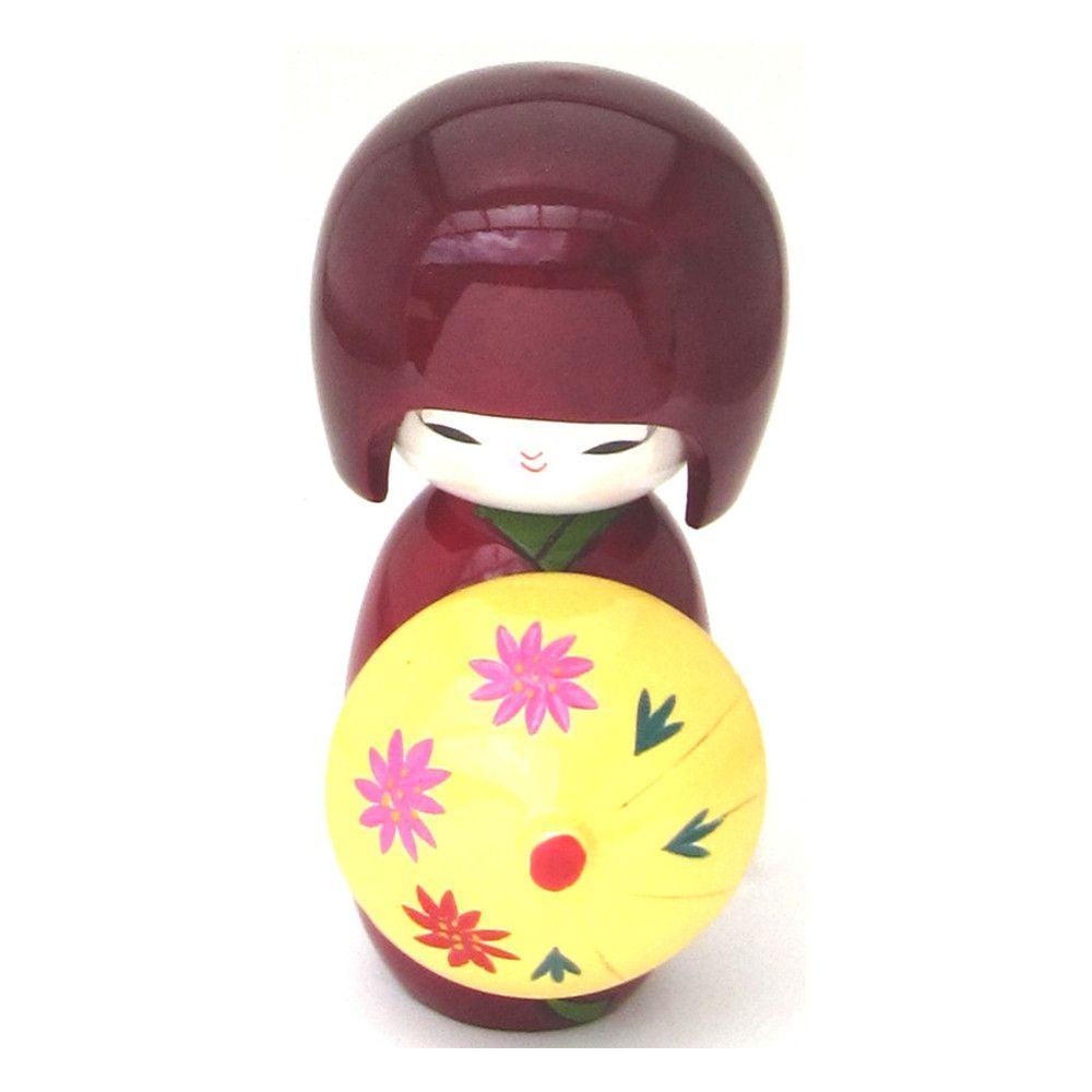 Boneca Japonesa Kokeshi com Sombrinha Oriental - Vinho