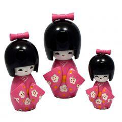 Trio Boneca Japonesa Kokeshi  Rosa - TKRS
