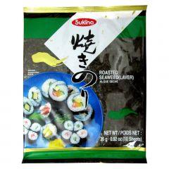 Alga Marinha Nori para Sushi e Temaki com 10 Folhas Sukina - 26 gramas