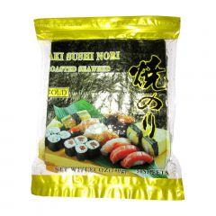 Alga Marinha Nori para Sushi e Temakis C/50 Folhas Yakinori Gold Plus - 140 gramas