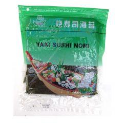 Alga Marinha Nori para Sushi e Temakis C/50 Folhas Yaki Sushi Nori Globo - 125 gramas