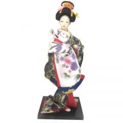 Boneca Japonesa Gueixa Artesanal com Kimono Azul e Leque Fechado