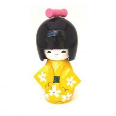 Boneca Japonesa Kokeshi  Amarela (11cm) - KMAM
