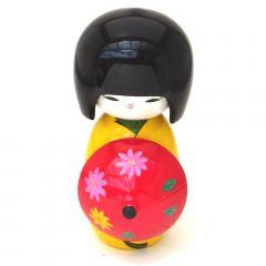 Boneca Japonesa Kokeshi com Sombrinha Oriental - Amarela