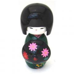 Boneca Japonesa Kokeshi com Sombrinha Oriental - Verde