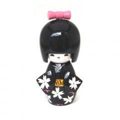 Boneca Japonesa Kokeshi  Preta (9cm) - KPRM