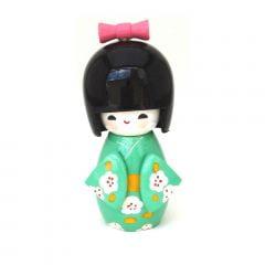 Boneca Japonesa Kokeshi  Verde Claro (11cm) - KMVS