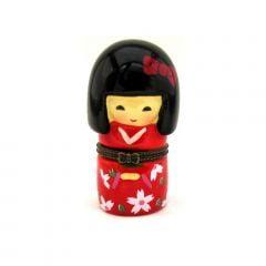 Boneca Japonesa Kokeshi Vermelha (7,5cm) - Resina