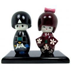 Casal de Boneca kokeshi Japonesa - Preto e Vinho