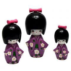 Trio Boneca Japonesa Kokeshi  Roxa - TKRS