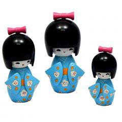Trio Boneca Japonesa Kokeshi  Azul - TKAS