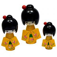 Trio de Boneca Japonesa Kokeshi Amarela  - Detalhes Florais
