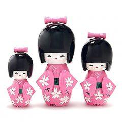 Trio Boneca Japonesa Kokeshi  Rosa - TKRM