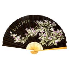 Leque Decorativo Oriental Sakura 4 - Preto 1,60m