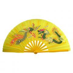 Leque Oriental com Desenho de Dragão e Fênix - Amarelo