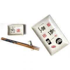 Kit com Utensílios Oriental Ideogramas - (4 peças)