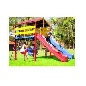 Playground de Madeira com escorregador duplo