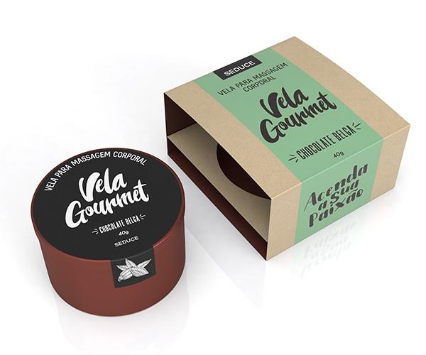 Vela Gourmet Massagem Corporal Comestível - Chocolate Belga 40g