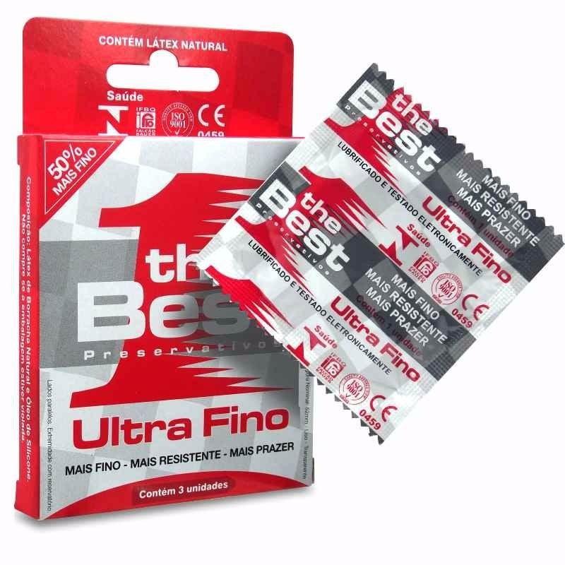 Preservativo The Best Ultra Fino com 3 Unidades Resistente