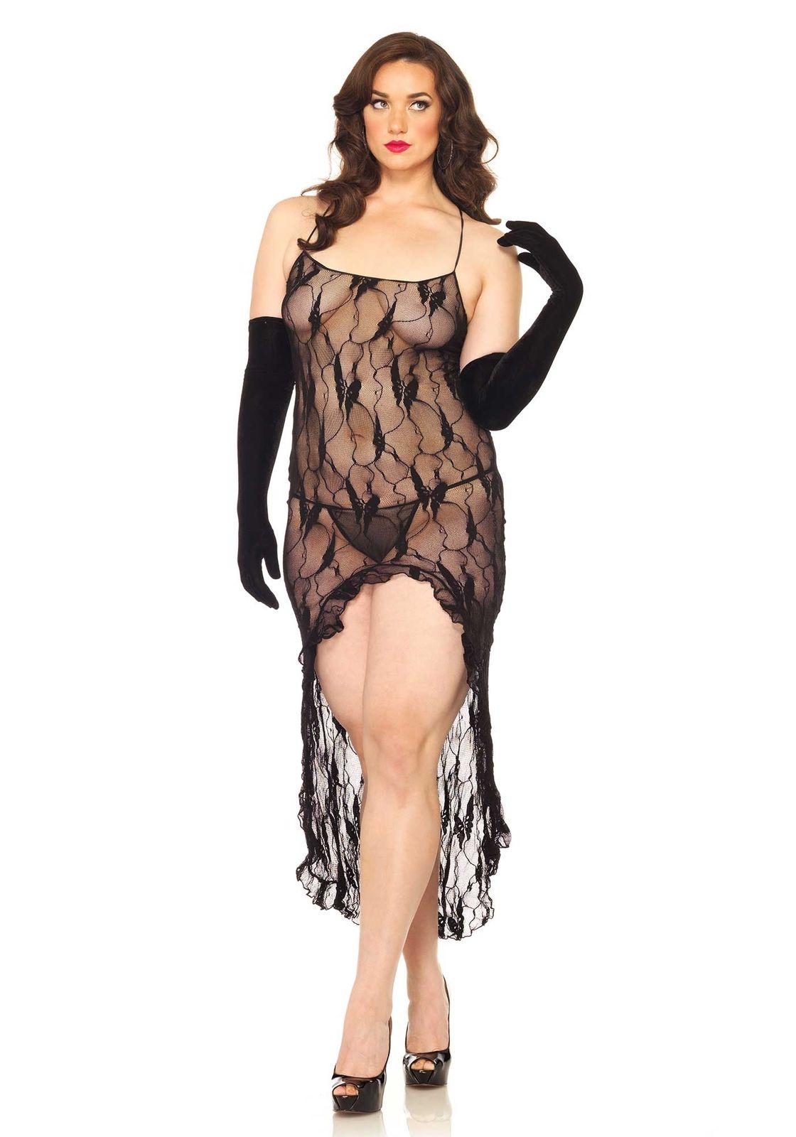 Vestido Longo Renda Abertura Frontal Plus Size LEG AVENUE