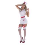 Fantasia Enfermeira - Conjunto de Vestido Curto, Tanga e Chapéu