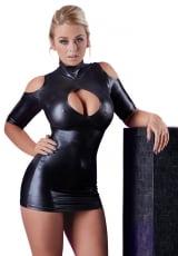 Mini Vestido Cold Shoulder Wetlook