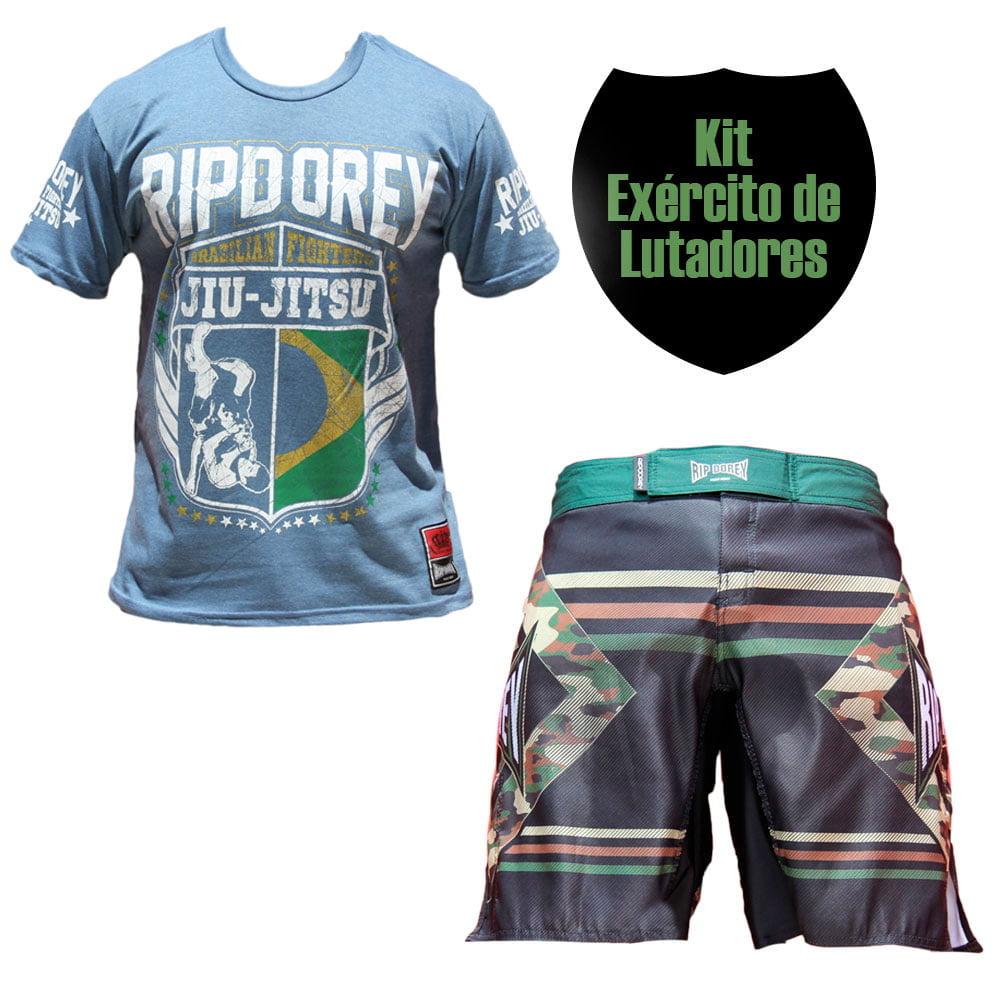 Kit Promocional Exercito de Lutadores Short Camuflado e Camisa Verde