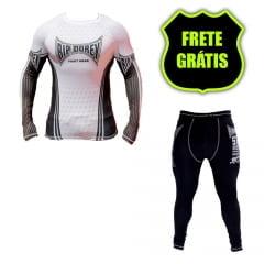 Kit Promocional Camisa Faixa Branca e Calça Compressão